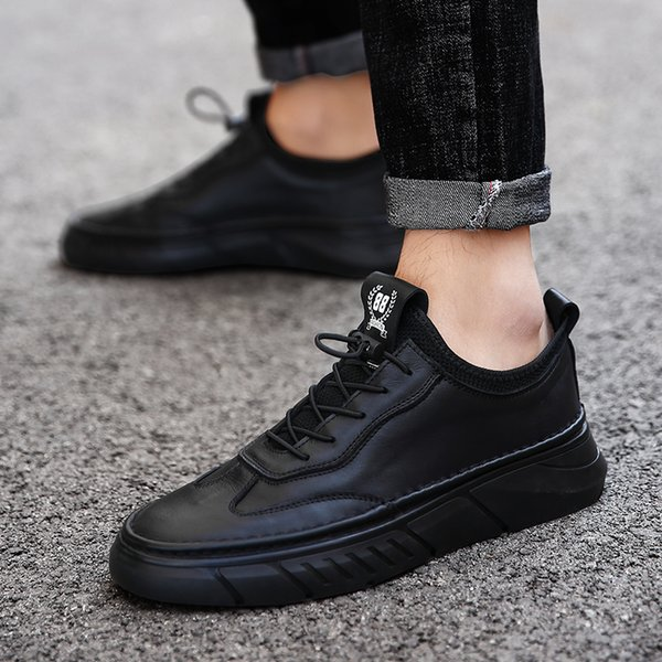 New winter leather shoes for men cowhide soft keep warm short plush wear-resisting Fashionable casual shoes
