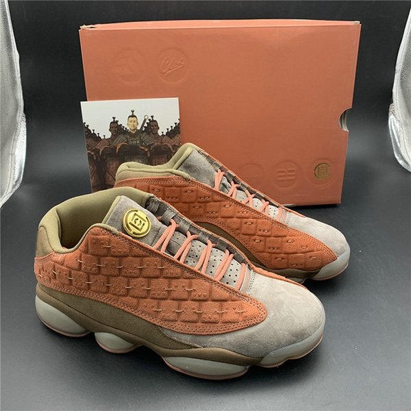 top popular 2019 CLOT X 13s Low Terracotta Warriors Basketball Shoes For Men New Released 13 Mens Designer Athletic Sports Sneakers With Box AT3102-200 2021