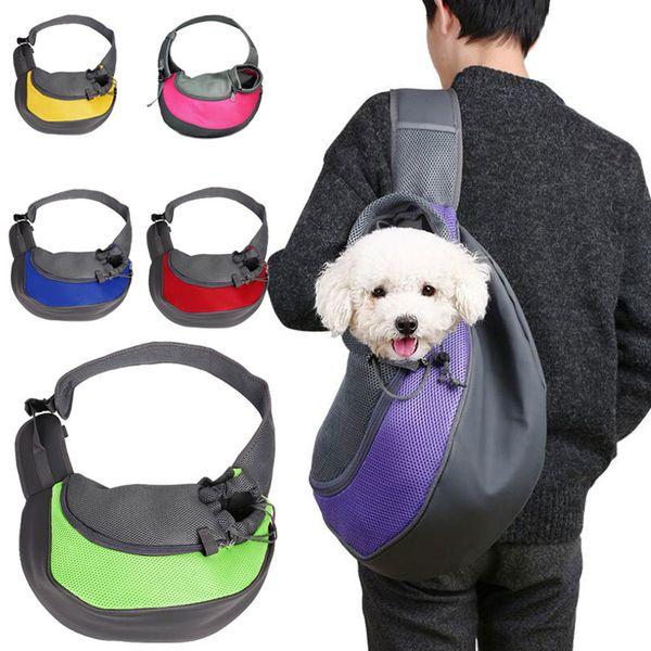 Mascota Cachorro Portador Bolsa de viaje al aire libre Bolsa de malla Oxford Bolso de hombro único Bolso de malla de viaje Bolsa de hombro de viaje de confort