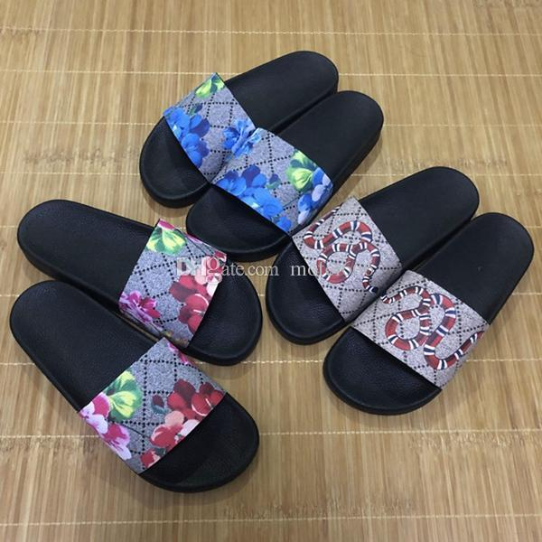 TOP 2019 Uomo Donna Sandali con scivolo Scarpe firmate Scivolo di lusso Moda estiva Ampio piatto Scivoloso con sandali spessi Infradito con pantofola