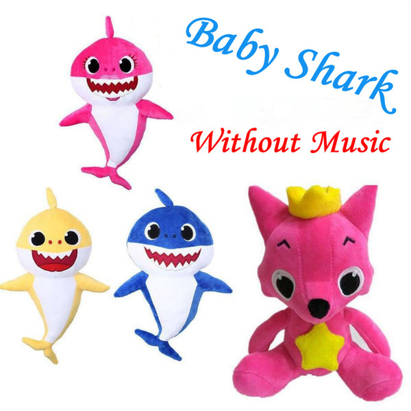 Baby Shark Plush Toys Cartoon Shark Fox Stuffed Doll Without Music Children Baby Animal Gift Novelty Items OOA6341