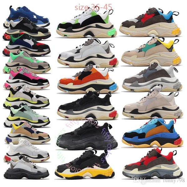 best selling Luxury triple s old dad shoes tripler sneakers clear sole chaussures retro scarpe women zapatos men hommes hombre mens fifty colors