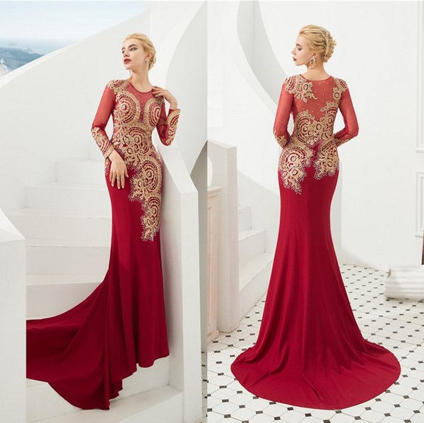 Vintage Red With Gold Embroidery Mermaid Evening Dresses Sheer Long Sleeve Sexy Illusion Back Long Prom Party Gowns CPS1307