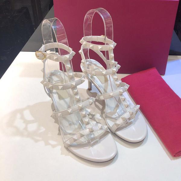 6,5 cm Ferse weiße Niete