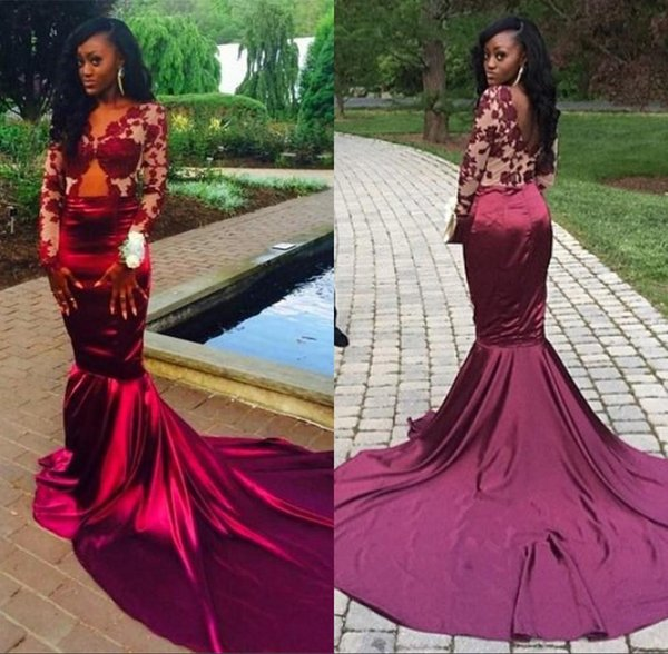 Burgundy Long Sleeves Lace Mermaid Evening Dresses 2019 Sexy Backless Court Train Sheer Prom Dresses Vestiods Formal Women Pageant Gowns