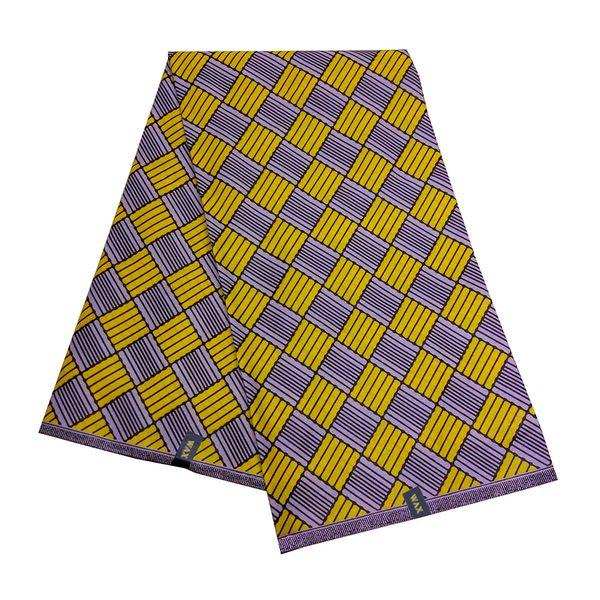 6 Yards Ankara cera africana Stampa tessuto giallo della stampa del modello cera reale del tessuto per il vestito del partito Fare Home Textile