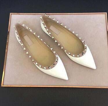 2019 Yeni Lüks tasarım rahat ayakkabılar Popüler kadın Düz Perçin Espadrilles Ayakkabı Rahat Deri Düz ayakkabı büyük boy 41 42 uu82d5