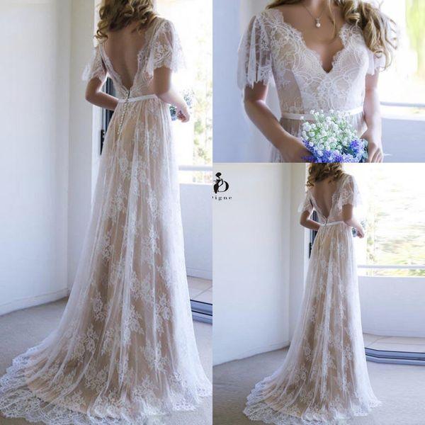 Champagne Verão Praia Boho vestidos de casamento 2020 manga curta V Neck Lace Applique Backless casamento vestidos de noiva Plus Size robe de mariée B