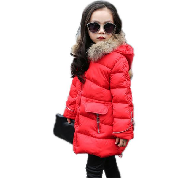 kızlar için çocuk kış ceket 2016 yeni kış katı orta uzun kız aşağı ceketler 5-13T aşağı parka sıcak kapüşonlu kız kalınlaşır