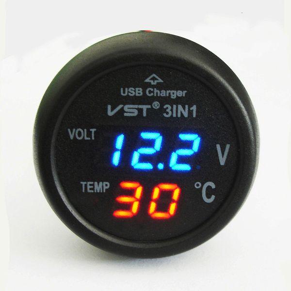 best selling Universal Cigarette Lighter Car Usb Port Cell-Phone Charger Digital LED Display Voltmeter Thermometer Auto Gauge 3 in 1 12 V 24 Volt Battery