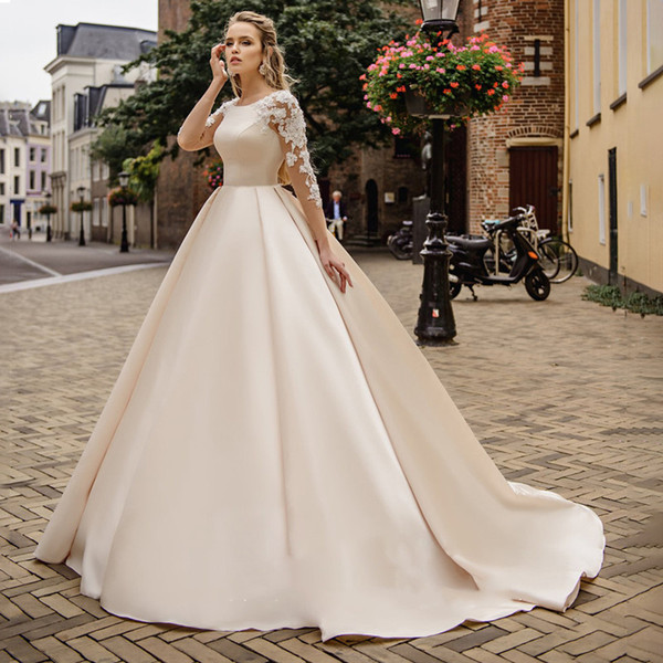 2019 Sexy Backless Country Wedding Dresses Lace Princess Ball Gown Custom Long Sleeves Bridal Dress Lace Appliques Plus Size Wedding Gowns