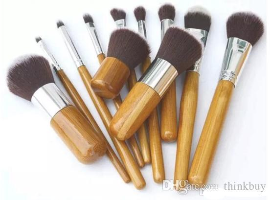 Cosméticos Maquiagem Profissional 11 piezas profesional de alta calidad de bambú cepillo del maquillaje del pelo de la cabra del cosmético del cepillo del kit con bolsa de DHL