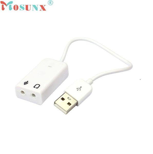 Nuevo adaptador de tarjeta de sonido de audio de 7.1 canales virtuales USB 2.0 para PC portátil para Mac Oct14