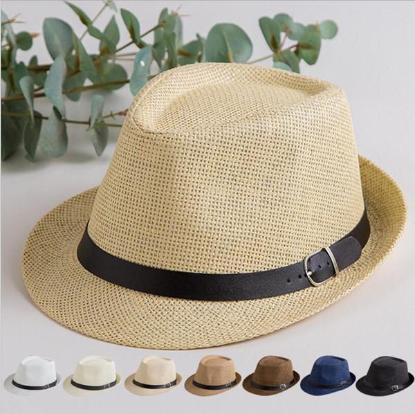 Панама Солома ВС Hat Мода лето Повседневный Модный пляж Зонт соломенной шляпе ковбоя Fedora Cap Открытый путешествия Стро Sun крышка SNAPBACK TL1057