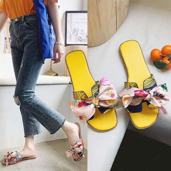 Yaz 2019 pantuflas kadın ayakkabı kelebek-düğüm yeni burnu açık Kadın terlik daireler rahat Açık slaytlar zapatillas mujer