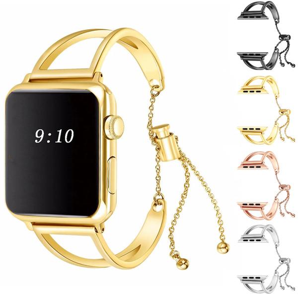 Mulheres 38mm 42mm 40mm 44mm pulseira pulseira pingente para apple watch strap pulseiras de aço inoxidável bandas borla iwatch series 4 3 2