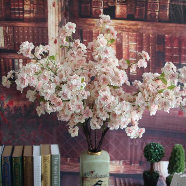 Long Stem Artificial Cherry Blossoms Silk+plastic Flowers Sakura Branch For Home Hotel Wedding Decoration Christmas Decor
