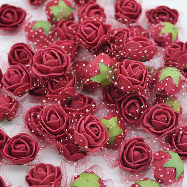 50/100 pcs 2.5cm Mini PE Foam Flower Fake Artificial Rose For DIY Handmade Wedding Party Decor Scrapbooking Crafts Gift Box 8Z C18112601