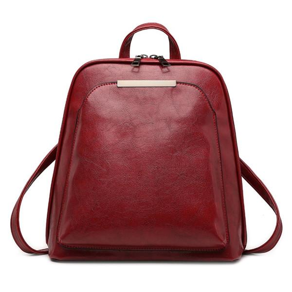 Vintage Oil Wax Leather Backpack For Women Large Capacity School Bag For Girls Leisure Shoulder Travel Bags For Female Rucksack