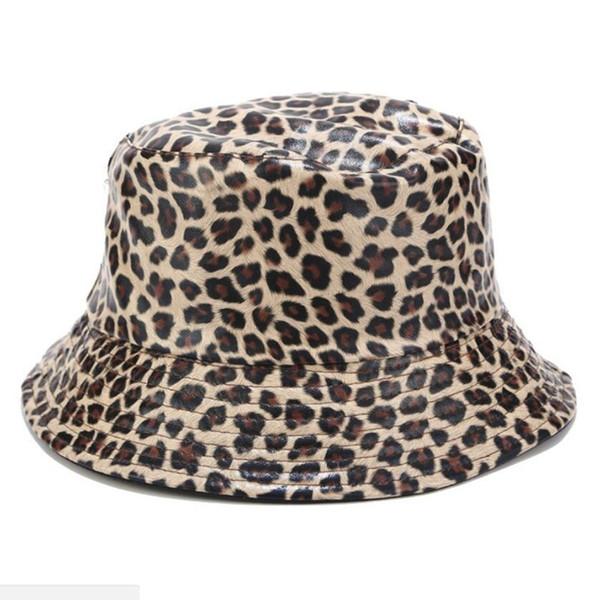 PU Deri Kepçe İçin Kadın Erkek Hip Hop Leopar Fishman Şapkalar Yaz Kadın Güneş Koruma Kapağı