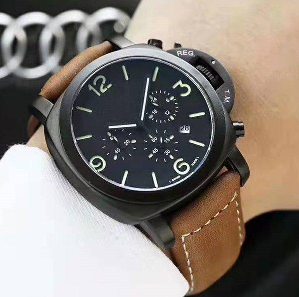 Homens de Luxo nova Moda Esporte Militar de quartzo Inteiro Preto Brown trabalho de couro Designer Swiss Watch Men Mens relógios Regarder reloj
