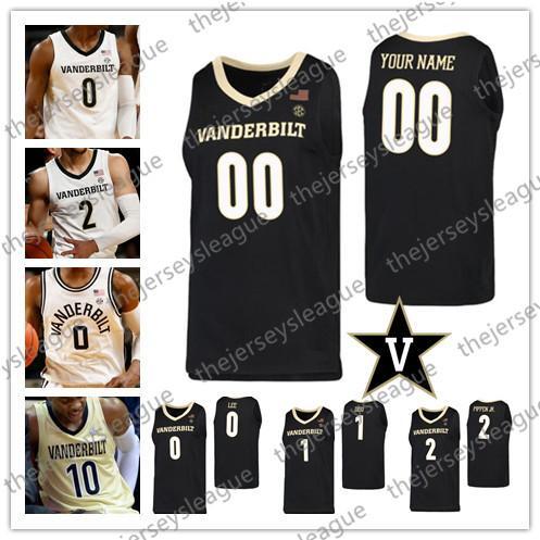 사용자 정의 밴더빌트 해군 준장 2020 농구 화이트 블랙 골드 (10) 갈랜드 (24) 아론 Nesmith 0 Saben 리 1 딜런 Disu 스카티 저지 4XL