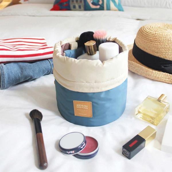 Barril à prova d 'água Em Forma de Saco de Viagem Cosméticos Make Up Bag Caso Com Cordão Kit de Lavagem Grande Capacidade Organizador Saco De Armazenamento De Beleza