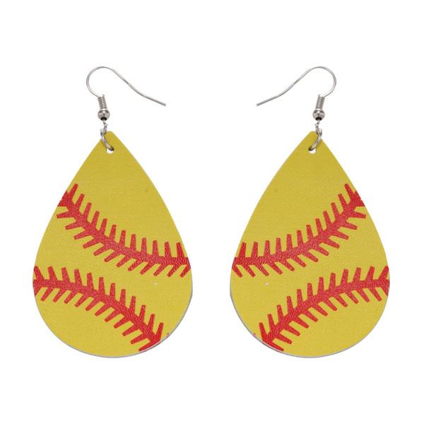 Bulk Leather Sports Earrings Baseball American Germany National Flag Football soccer basketball softball Dangle Earrings For women Jewelry