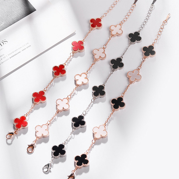 best selling 316L Titanium Steel Gold Plated White Agate Black Onyx Clover Love Bracelet Gold Fine Natural Red Agate Jewelry For Women