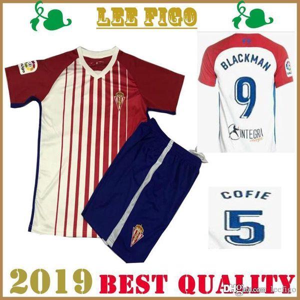 2019 Real Sporting de Gijón costume de football Maillots # CARMONA MENDEZ BLACKMAN Cofie Djurdjevic # 19-20 Gijón Football costume Shirt TAILLE: S-XXL