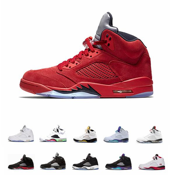 Nike Air jordan Venda barato 5 5S Asas de Vôo Internacional Dos Homens Tênis de Basquete Vermelho Azul Suede Countdown Pack Hornets homens tênis esportivos desenhadores formadores