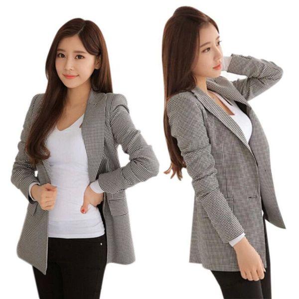 Nuevo 2018 Mujeres Plaid Blazers Chaquetas Traje Damas Manga larga Ropa de trabajo Blazer Tallas grandes Casual Ropa de abrigo femenina Ropa de trabajo