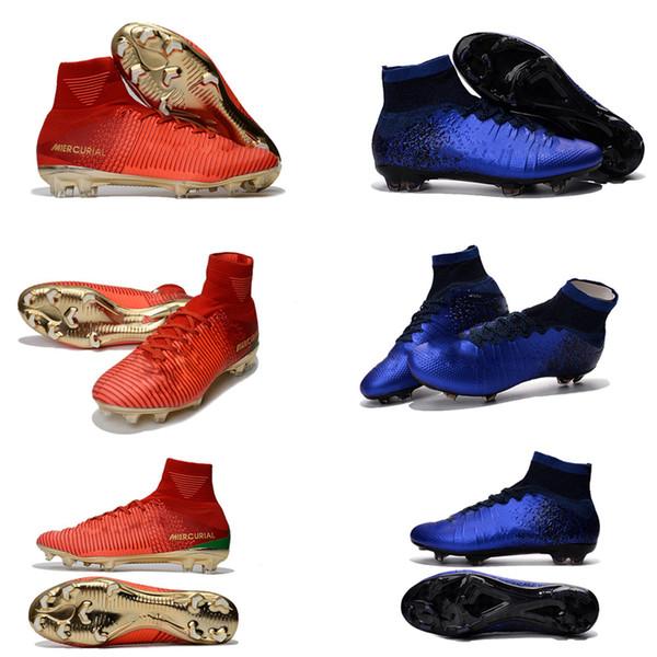 El más nuevo Original Red Gold blue CR7 para hombre Tacos de fútbol Mercurial Superfly V CR7 FG para hombre Zapatos de fútbol Ronaldo Botas de fútbol para mujer us3.5-11