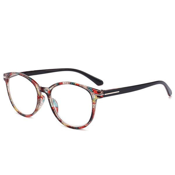 Erkekler Kadınlar İçin Urltra Işık Okuma Gözlüğü Retro Yuvarlak Çiçek Presbiyopi Gözlükler Miyop Mercek Çerçeve oculos de grau (+ 1.00 ~ + 3.50)