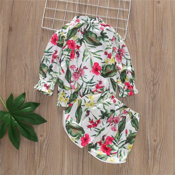 enfants impression tropicale 2pcs set tenues filles planter des fleurs top + pantalon court enfants Zipper Suit B11