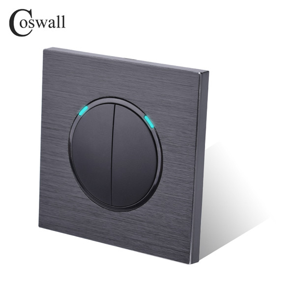 best selling Coswall Luxurious 2 Gang 2 Way Random Click Push Button Wall Light Switch With LED Indicator dark Black Aluminum Panel