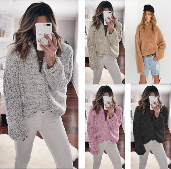 Sherpa Pullover Women Hoodies Berber Fleece Sweatshirt Long Sleeve Zipper Sweater T Shirt Oversized Solid Hoodie Ladies Outwear Top Clothing