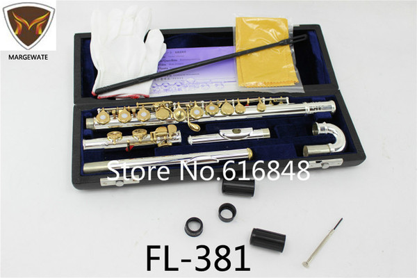 New Arrival FL-381 Flute Silver Plated Body Gold Lacquer Double Heads Flutes 16 17 Holes Open C Key Quality Flute with Case Free Shipping