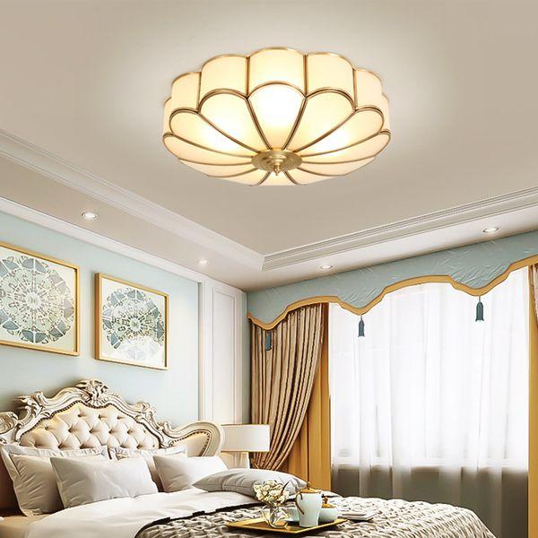 Vintage tavan oturma odası yatak odası otel koridor koridor için yaratıcı bakır lüks zarif çiçek tavan lambaları tavan aydınlatma ışıkları açtı