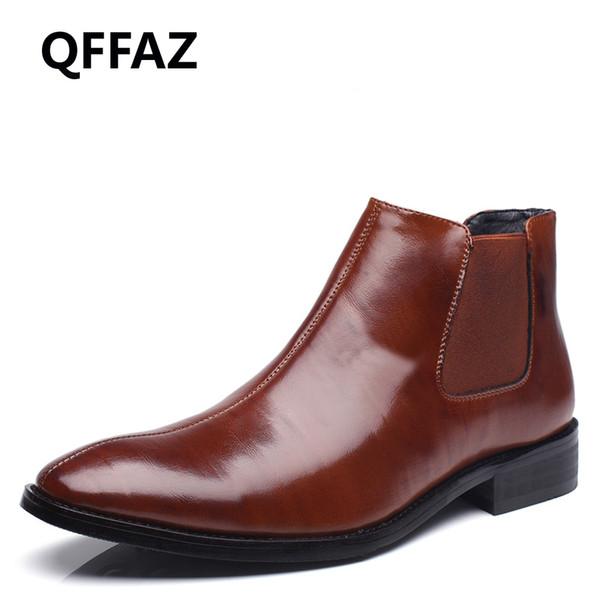 QFFAZ sapatos masculinos sapatos de couro de couro genuíno botas de tornozelo plana dos homens impermeável calçados de moda do vintage Confortável