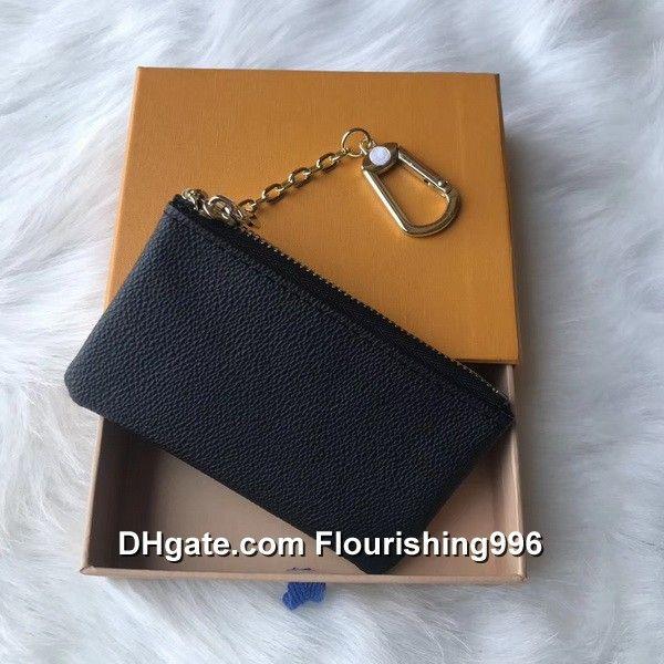 Prix le plus bas ! 4 couleurs clé pochette zippée porte-monnaie porte-monnaie en cuir porte-monnaie designer femme avec boîte orange