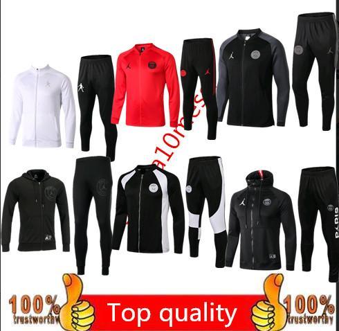 ÜST Paris ceket eşofman 2018 2019 psg futbol koşu ceket MBAPPE DI MARIA CAVANI VERRATTI Paris Futbol ceket takımı Eğitim takım elbise pantolon