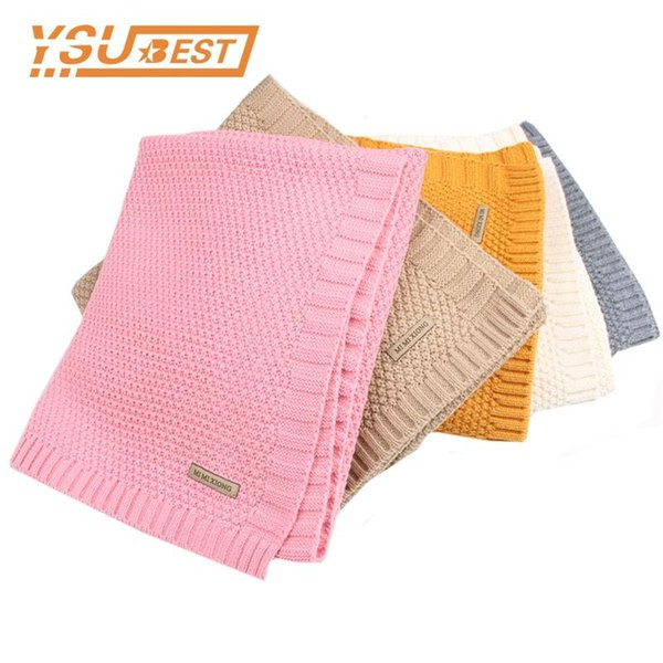 Newborn Baby Swaddle Wrap Blanket Winter Warm Knitted Child Boys Cellular Throwing Blankets Fall Crochet Muslin Blanket Toddler
