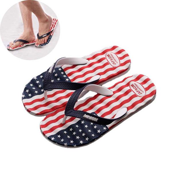 Men Flip Flops Slipper 2019 Summer Shoe Antiskid Slippers Man National Flag Print Foot Thicken Bathroom Beach Sandals Home Shoes #10