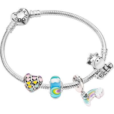 Crystals form Swarovski blue dream star love micro-set rainbow colored glass Beaded bracelet enamel string decoration selection daintiness