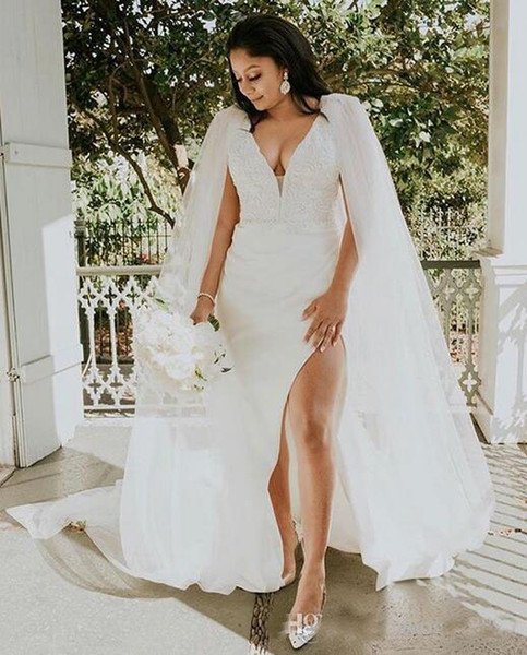 2019 African Stunning Deep V Neck Sheath Wedding Dresses With Long Tulle Cape Lace Bridal Gowns High Side Split Vestido de Novias
