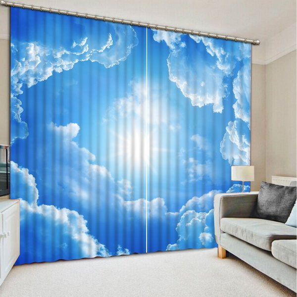 2019 Beautiful Blue Sky And White Clouds Curtain Luxury Blackout 3D Window  Curtains For Living Room Bedroom Drapes Cortina Customized Size From ...