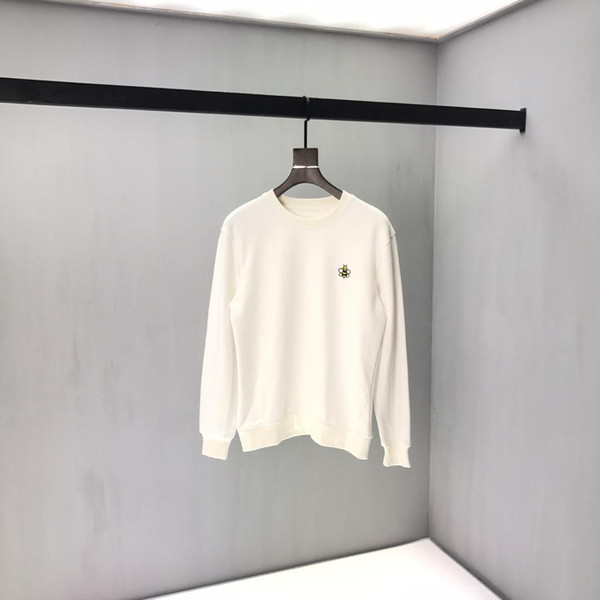 19SS Designer Outono de alta qualidade de luxo Branco Bee Impressão Hoodies homens e mulheres do estilo Fácil Tendência Hoodies longos