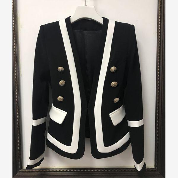 Alta Qualidade Designer de Casaco, mulher Blazer Jacket lady Clássico Preto Branco Cor Bloco de Botões de Metal moda senhora tops Blazer