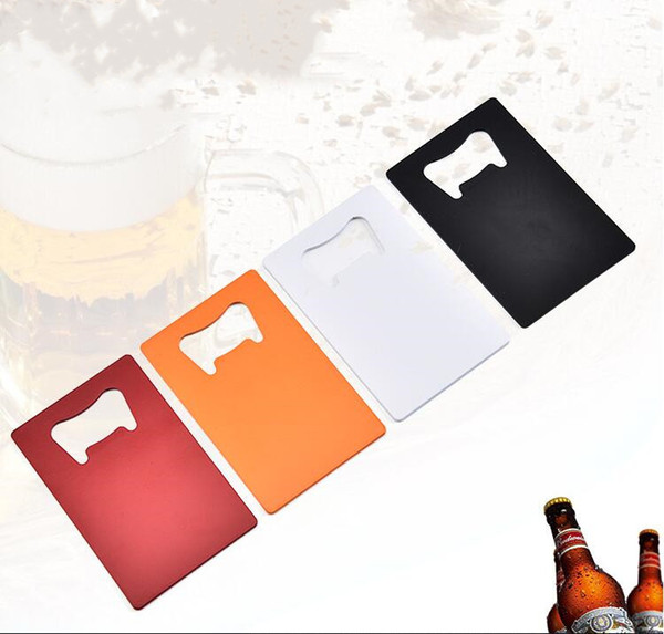 best selling Wallet Size Stainless Steel Opener 4 Colors Credit Card Beer Bottle Opener Business Card Bottle Openers